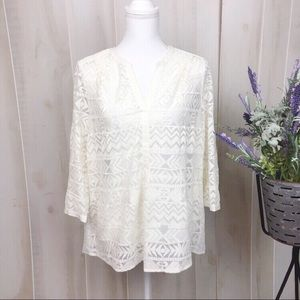 Vanessa Virginia Off White Patterned Blouse